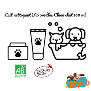 Lait nettoyant Oreilles Bio pour chien / chat qui nettoie les conduits auditifs